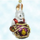 Rembrandt von Rabbit, Radko Ornaments, 1998, 98-187-0, Easter Bunny, paint pallet, egg, chick, Christmas, Mint with Tag, Box