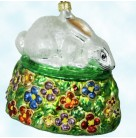 Pansy Patch Easter Rabbit, Christopher Radko Christmas Ornaments, 1998, 98-322-0, Bunny rests on flowers, Mint With Tag