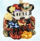 Winter Romance, Radko Christmas Ornaments, 1999, 99-DIS-28, Disney, Mickey & Minnie Mouse on couch, Mint
