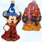 Fantasia Mickey, Sorcerer's Apprentice, Dancing Brooms, Radko Ornaments, 1999, 99-DIS-29, Set of 2, Limited 3500, Disney, Christmas, Mint with Tag, Box