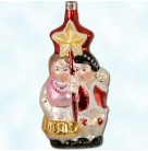 Village Carolers, Christopher Radko Christmas Ornaments, 1992, 92-172-0, Vintage,Male, Couple sing by star lantern,, Mint with Tag