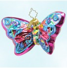 Flights of Paradise - Fuchsia, blue butterfly, Radko Ornaments, 2003, 1010683, One of 6 pieces, Green body, Christmas, Mint with Tag