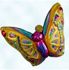 Flights of Paradise - Gold, butterfly, Radko Ornaments, 2003, 1010683, One of 6 pieces, Fuchsia body, Christmas, Mint with Tag