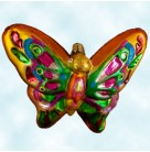 Flights of Paradise - Orange, butterfly, Radko Ornaments, 2003, 1010683, One of 6 pieces, gold and yellow body, Christmas, Mint with Tag