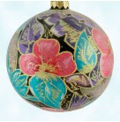 Nocturne Ball, Radko Ornaments, 1998, 98-278-0, Italian, Pink flowers, teal, purple leaves, Christmas, Mint with Tag