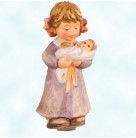 Lullaby For Dolly, Goebel, Berta Hummel, 1999, BH-85, Little girl wearing long, brown gown, swaddled doll        