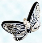 Flight of Paradise, Butterfly, Chirstopher Radko Christmas Ornaments, 2005, 1012184, Black,  Pearl, Purple Glitter, Gold Wings, Mint with Tag