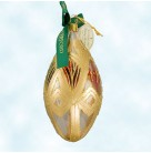 Dated Egg Drop, Waterford Cyrstal Christmas Ornament, 1999, 106916, Gold art deco design on clear glass, green ribbon, Mint with Tag, Box