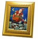 Ballooning Santa Oil Painting, Christopher Radko Christmas Decor, 1998, 98-560-0, Delivering presents, village, Mint with Tag