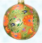 Kashmiri Ball, Radko Christmas Ornaments, 1998, 98-277-0, Lime green, abstract red flowers, Mint with Tag