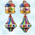 Carousel Top, Radko Ornaments, 2001, 0109810, 2 Tier Mutilcolore merry go round on flared drop,, Christmas, Mint with Tag