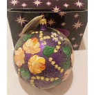 Midnight Garden Purple Ball, Radko Ornaments, 1998, 98-043-0, Orange, pink flowers, garlands, Christmas, Mint with Tag
