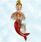 Nice Catch - Red, Radko Christmas Ornaments, 2002, 02-0090-0, Italian, mermaid, star fish, silver net shawl, Mint with Tag, Box