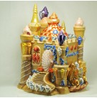 Sand Castle Cookie Jar, Radko Home for the Holidays, 2002, 0263050, Multiple turrets, windows, Mint with Tag, Box