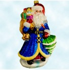 Vintage Sapphire Santa, Radko Christmas Ornaments, 1999, 99-303-0, Pine Tree, Bag of Presents,, Mint with Tag