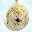Home Spun - Halloween, Radko Christmas Ornaments, 1997, 96-011-0, Spider web on pearl medallion, Christopher, Mint with Tag