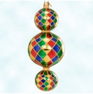 Triple Harlequin Drop, Christopher Radko Christmas Ornaments, 2000, 00-1407-0, 15th Anniversary, 3 Tier, Excellent