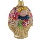 Peek A Boo Girl in Basket, Christopher Radko Ornaments, 1995, 95-212-0, Dresden German, Flowers, Christmas, Mint with Tag