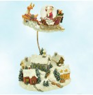 Flyin' High Snow Globe, Christopher Radko Home for the Holidays, 2002, 02-713-00, Santa & Rudolf Red Nosed Reindeer flying over village, Mint with Tag, Box