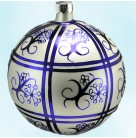 Delf Design Ball, Radko Ornaments, 1992, 92-124-0, Double band sections  & abstract purple flower, Christmas, Mint with tag