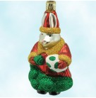 Christmas Bunny, Patricia Breen Christmas Ornament, 1998, 9905, Santa coat with green bag & spotted pearl egg, Mint