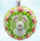 Medallion - Bunny Girl, Patricia Breen Christmas Ornaments, 2007, 2763, Neiman Marcus, enamel, pink tag, Mint with Tag