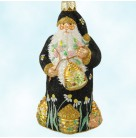 Beeskep Santa - Black, Patricia Breen Christmas Ornaments, 2003, 2310, Neiman Marcus , gold beehives, Mint with Tag
