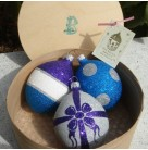 Box - Round Wooden containing three Easter Eggs, Patricia Breen Christmas Ornaments, 1998, 9873, Set of 3, Mint