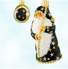 Moon Glow Santa - Black, Patricia Breen Christmas Ornaments, 2004, 2432, 2 Part,Holds moon on rod stars, bejeweled, Mint with Tag