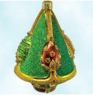 Perchen's Tree - Autumnal, Patricia Breen Christmas Ornaments, 2003, 2340, Bejeweled green  red & gold faberge eggs, gold ribs, Mint