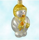 Snowbaby - Yellow, Patricia Breen Christmas Ornaments, 1999, 9936, Pearl snowman baby; yellow mittens and bonnet; gold rattle, pacifier, Mint