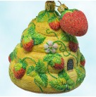 Strawberry Beeskep, Patricia Breen Christmas Ornaments, 2005, 2548, Beehive, 2 part, toggle, Mint