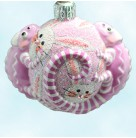 For James Twice - Easter Bunnies, Patricia Breen Christmas Ornament, 2006, 2581, TBA 2 Chameleon, striped, bejeweled, Mint with Tag