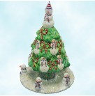 Snowman Topiary - Blue and Red, Patricia Breen Christmas Ornaments, 2005, 2546, Fully glittered,, Mint with Tag, Box Signed