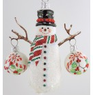 Frosty & Festive Snowman  - Peppermint & Holly,  Breen Christmas Ornaments, 2008, 2189, Restricted, 2 Balls, Mint with Tag