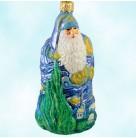 Starry Starry Night Santa, Patricia Breen Christmas Ornaments, 2003, 2353, Vincent van Gogh, blue robe, Cyprus tree, village, Mint with Tag