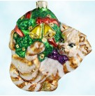 Kitty Christmas, Slavic Treasures, 2000, 00-240-A, Gold & pearl cat, tabby playing with wreath & bells, Mint with Tag, Box