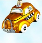 On The Town, Radko Ornaments, 1998, 98-224-0, Yellow checkered taxi cab, Christopher Christmas, Mint with Tag