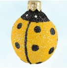 Ladybug Ladybug - Yellow - Closed Wing, Patricia Breen Christmas Ornaments, 2004, 2420, black dots, metal antennas, Mint with Tag