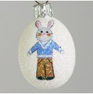 Miniature Egg - Bunny Boy, Patricia Breen Christmas Ornaments, 2007, 2731, Easter, rabbit, blue top, pants, Mint with Tag