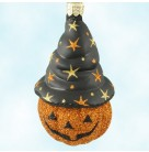 Bewitched Pumpkin - Orange, Patricia Breen Christmas Ornaments, 2002, 2213, Glitter jack o' lantern; black witch hat; stars; Halloween, Mint with Tag