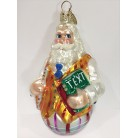 Well Rounded Education - Roly Poly Graduation Santa, Christopher Radko Christmas Ornament, 2001, 01-0261-0,Texts, Orange stripe vest, Mint with Tag