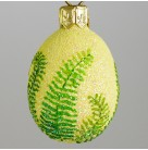 Miniature Egg - Fern, Patricia Breen Christmas Ornament, 2007, 2731, Easter, Spring, green plant, yellow