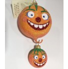 Zany Gourd Duo - 2 Part Halloween Pramage Pumpkins, Patricia Breen Christmas Ornaments,  2004, 2448, Fully glittered, Mint with Tag