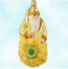 Gerbera Santa - Yellow, Patricia Breen Christmas Ornament, 2001, 2109, Matte gold Santa in glittered sunflowers, Mint with Tag