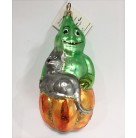Squash Man - Green, Christopher Radko Halloween Ornament, 1995, 94-0670-1, Halloween,Gray cat, pumpkin, Mint with Tag