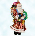 Big and Bountiful, Radko Ornaments, 2002, 02-0472-0, Santa, cloak, bag of toys, gold, Christmas, Mint with Tag