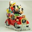Disney Seasons Greetings Cookie Jar, Radko Christmas Home for the Holiday, 2003, 2010735, Ltd 500, Red Car, Mickey Friends, Mint with Tag, Box